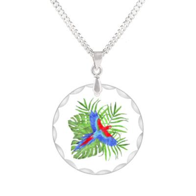 Кулон тропический букет с попугаем ара