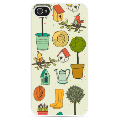 Чехол для iPhone Деревья, птицы, лейки