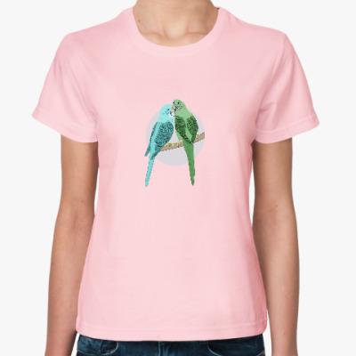 Женская футболка Волнистые попугайчики