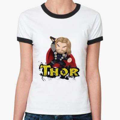 Женская футболка Ringer-T ТОР /THOR (мстители)
