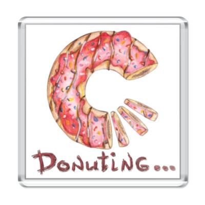 Магнит сладкая иллюстрация с пончиком