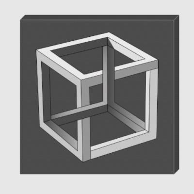 Холст Невозможный Куб 3D