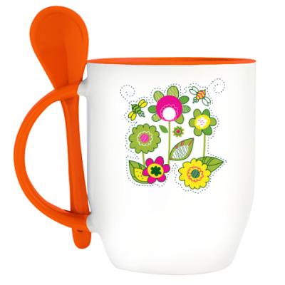 Кружка с ложкой Солнечные цветы и пчелы