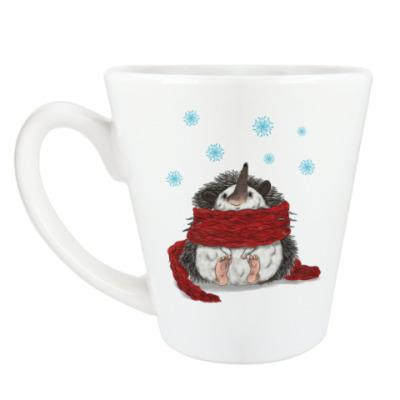Чашка Латте Новогодний ежик в шарфе
