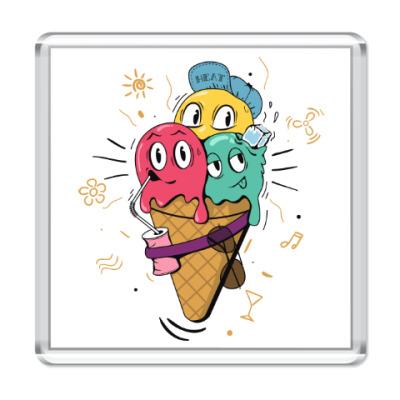Магнит Смешные шарики мороженного