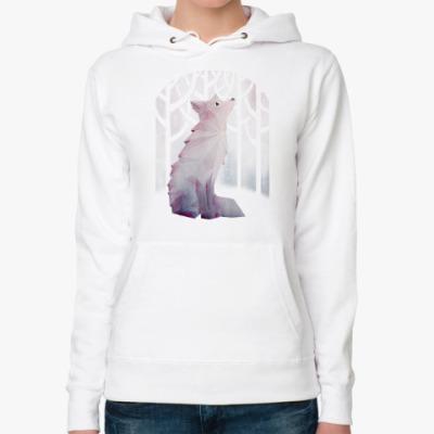 Женская толстовка худи Зимний Лис в снегу Winter fox