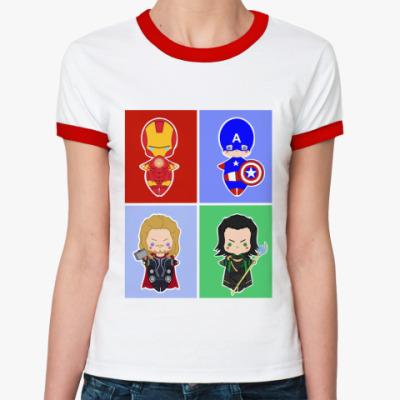 Женская футболка Ringer-T Мстители (Avengers)