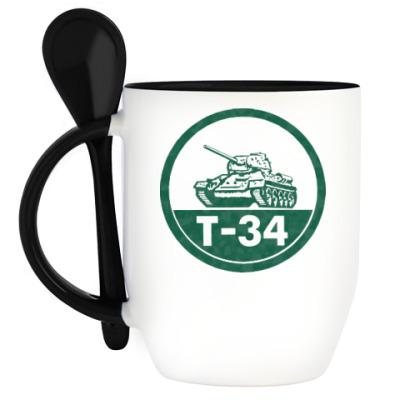 Кружка с ложкой Танк Т-34