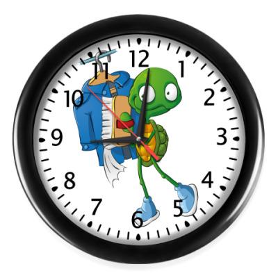 Настенные часы Чистюля Черепашонок с щеткой