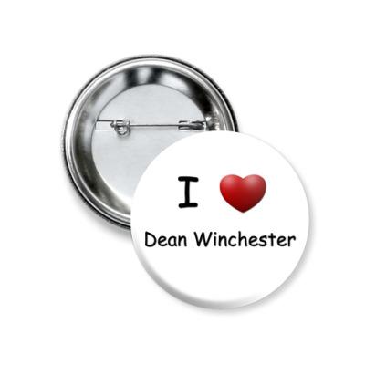 Значок 37мм  I Love Dean