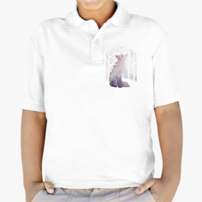 Детская рубашка поло Зимний Лис в снегу Winter fox