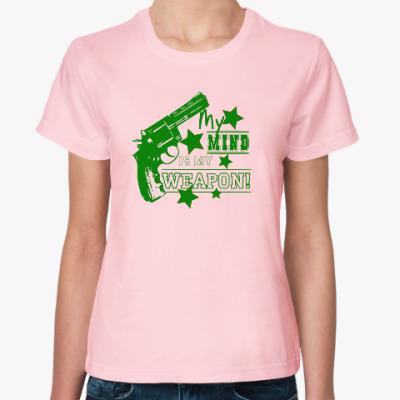 Женская футболка МОЙ МОЗГ МОЁ ОРУЖИЕ