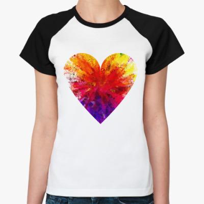 Женская футболка реглан Сердечко