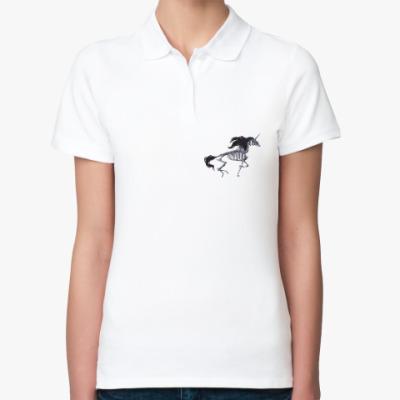 Женская рубашка поло Скелет Единорога