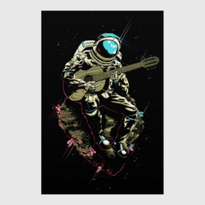 Постер Космонавт с гитарой