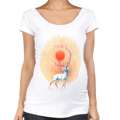 Футболка для беременных Дух весны белый олень