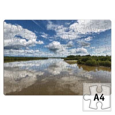 Пазл Лето, облака. Река Камчатка, Камчатский край