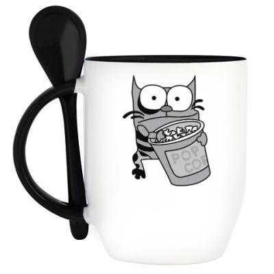 Кружка с ложкой Упячка Кот