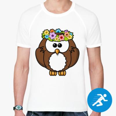 Спортивная футболка Сова с цветами