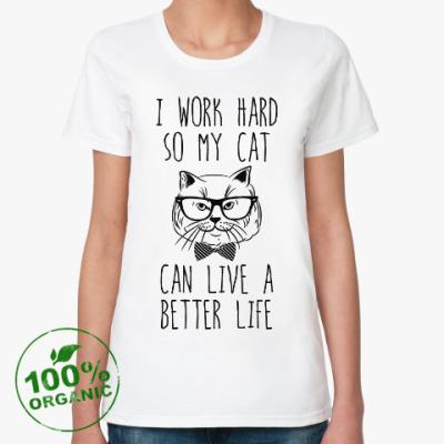 Женская футболка из органик-хлопка I work hard