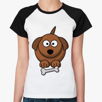 Женская футболка реглан Собачка с косточкой