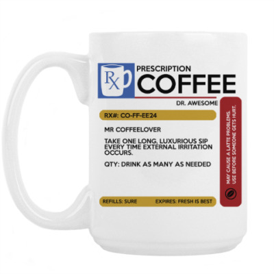 Кружка Рецепт на кофе. COFFE Кофе