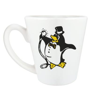 Чашка Латте Пингвин в караоке