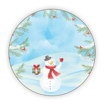 Костер (подставка под кружку) Зимнее настроение / Снеговик