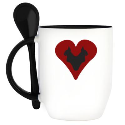 Кружка с ложкой Кошачье сердце