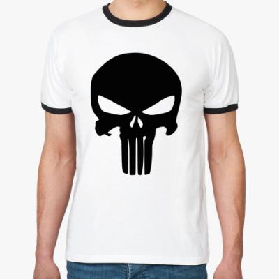 Футболка Ringer-T Каратель Череп, Punisher Skull