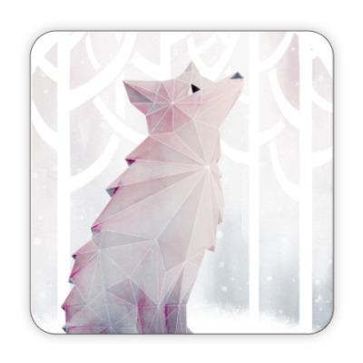Костер (подставка под кружку) Зимний Лис в снегу Winter fox