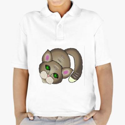Детская рубашка поло Котик скучает