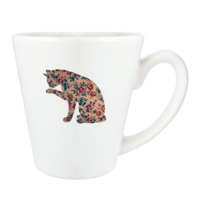 Чашка Латте кошка из цветов