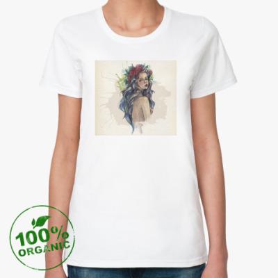 Женская футболка из органик-хлопка Красивая девушка