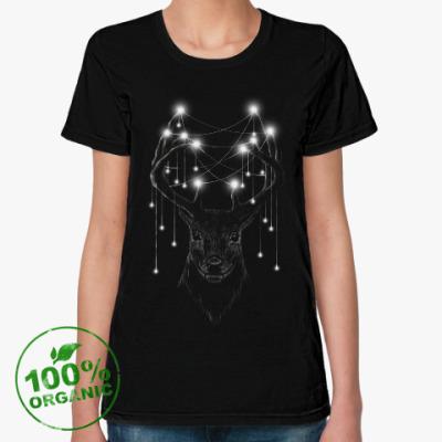 Женская футболка из органик-хлопка Новогодний олень X-mas Deer