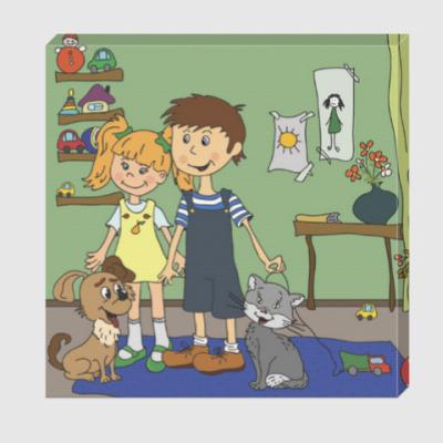 Холст Девочка и мальчик