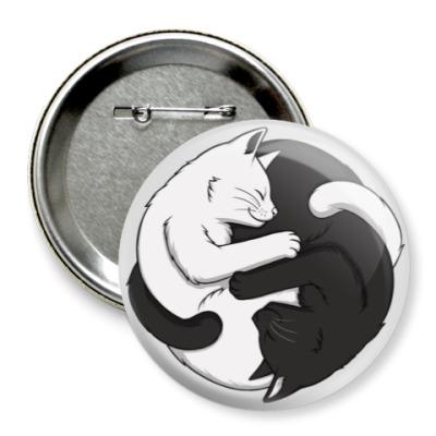 Значок 75мм Черный и белый кот инь-ян