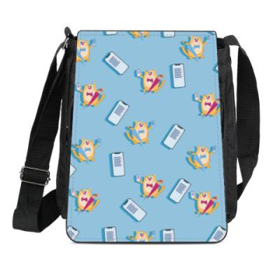 Сумка-планшет  Кот с зонтом и мобильным телефоном