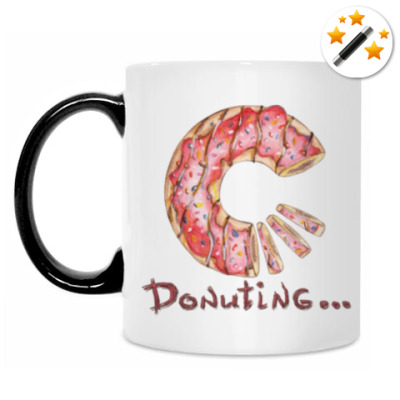 Кружка-хамелеон сладкая иллюстрация с пончиком