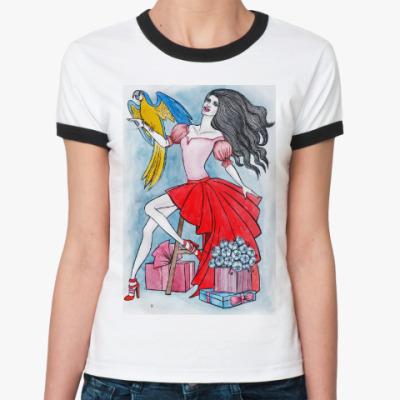 Женская футболка Ringer-T Девушка с попугаем