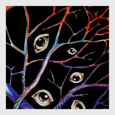Постер Глаза, сюрреализм, вены, ветви