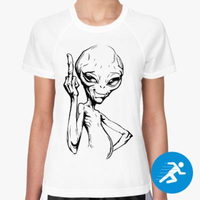 Женская спортивная футболка смешной пришелец (funny alien)