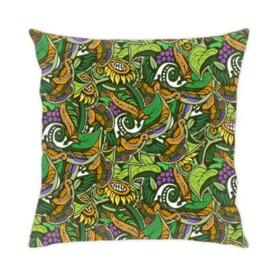 Подушка растительный тропический цветочный фон