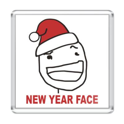 Магнит Новогоднее лицо