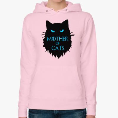 Женская толстовка худи Mother of cats