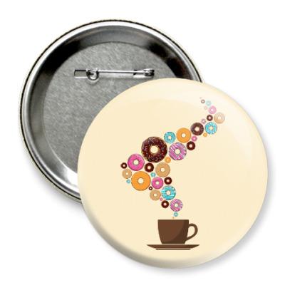 Значок 75мм Кофе с пончиками
