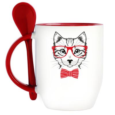 Кружка с ложкой С котом в очках