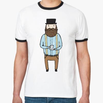 Футболка Ringer-T Джентльмен с чашечкой чая