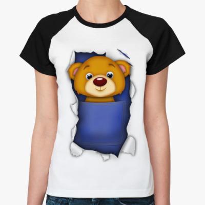 Женская футболка реглан Медведь