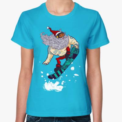 Женская футболка Санта Клаус сноубордист